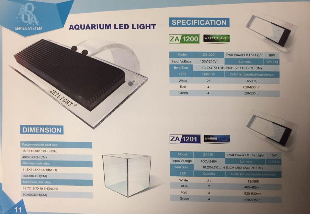 Zetlight ZA1200 16W LED Clamp On Aquarium Light, Plant Gallery